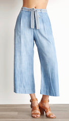 Bella Dahl Stripe Trim Belt Crop Wide Leg Denim Pants Silverlake Wash ShopAA