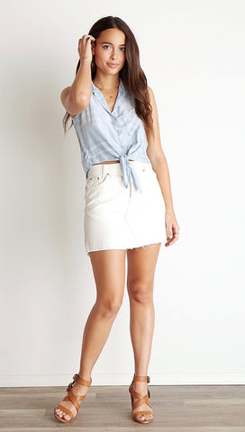 Bella Dahl Sleeveless Tie Up Front Button Down Shirt Leon Wash ShopAA