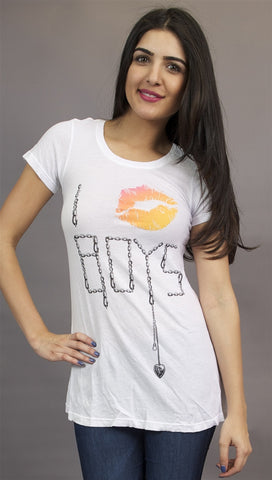 Wildfox Couture I Kiss Boys Crew in White
