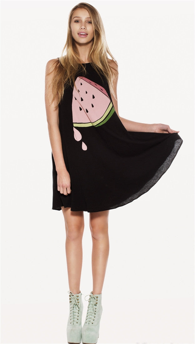 Wildfox Couture Sweet Watermelon Cassidy Dress in Clean Black