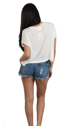 WKSHP Modern Armor Crop Top Shirt in Off White