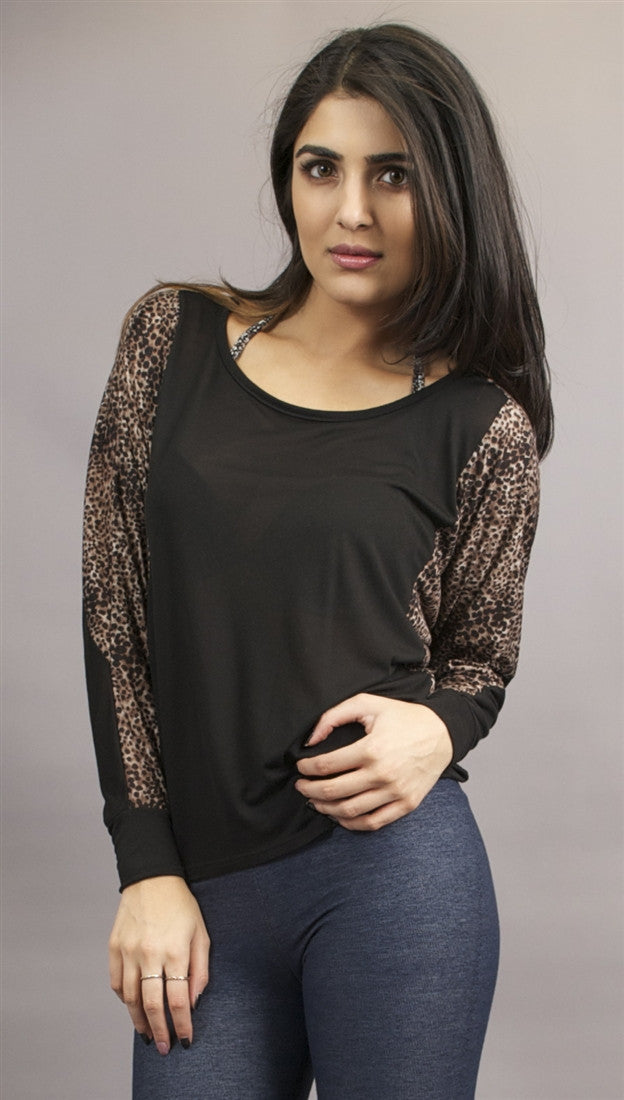 Woodleigh Contrast Cheetah Shirt in Black
