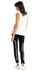 n:Philanthropy Reiko Lace Up Back Skinny Active Sweats Pant Black Cat