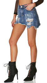 Distressed Ripped Denim Mini Skirt Destroyed
