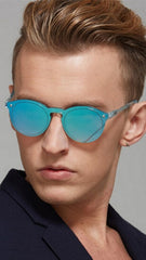 Shop Shade Charlie Sunglasses Blue Mirror Rimless