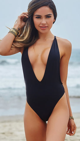 Chynna Dolls Swimwear Daffodil Plunging Deep V High Cut Black One Piece