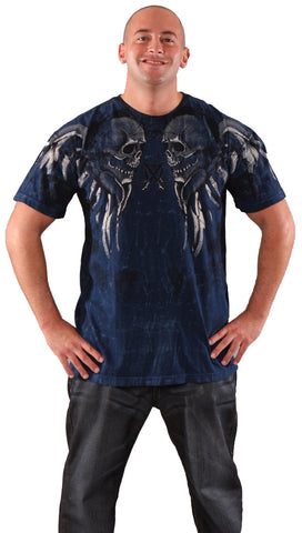 Xtreme Couture Mens Rambo Skull Wings Tee Shirt Navy Blue