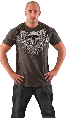 Xtreme Couture Mens Cardiac Skull Wings Foil Tee Shirt Smoke Grey