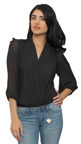 Cheryl Deep V Long Sleeve Bodysuit in Black Sheer Long Sleeves