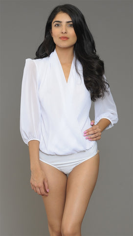 Cheryl Deep V Long Sleeve Bodysuit in White