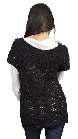 Button Down Short Sleeve Sweater Knit Cardigan in Black