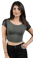 Cheryl Vegan Leather Shortstop Crop Tee in Olive Green