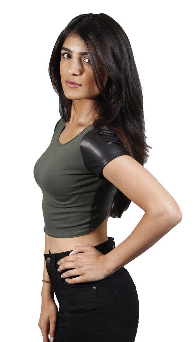 Cheryl Vegan Leather Shortstop Crop Tee in Olive