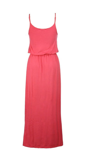 Elastic Waist Solid Maxi Tank Dress in Coral Summer Cover Up