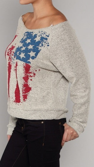 Zendo American Flag Off Shoulder Cut Out Sweatshirt