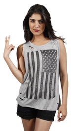 Zendo American Flag Print Ripped Muscle Tank Top in Grey