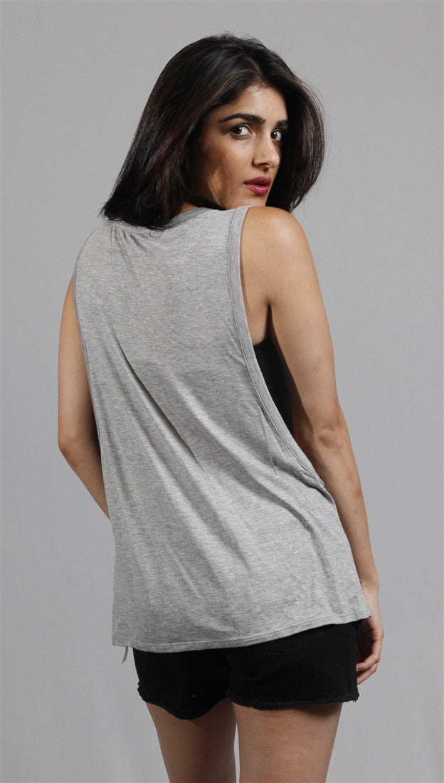 Zendo American Flag Muscle Tank in Grey