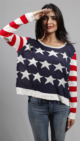 Zendo Reversed American Flag Pullover Sweater