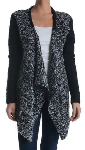 Zendo Two Tone Open Sweater Cardigan Black Marble
