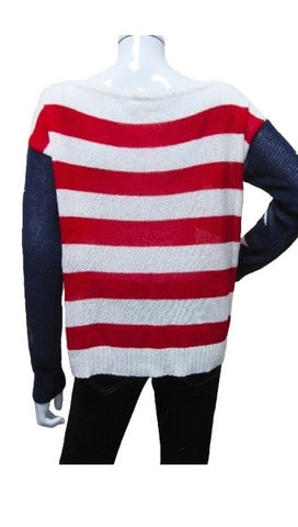 Zendo Stripe American Flag Pullover Sweater