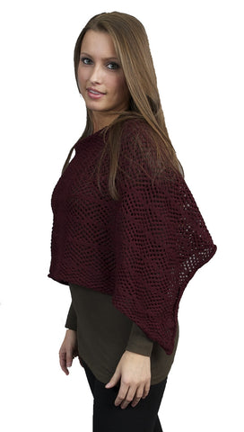 Zendo Sweater Knit Pullover Poncho Cranberry