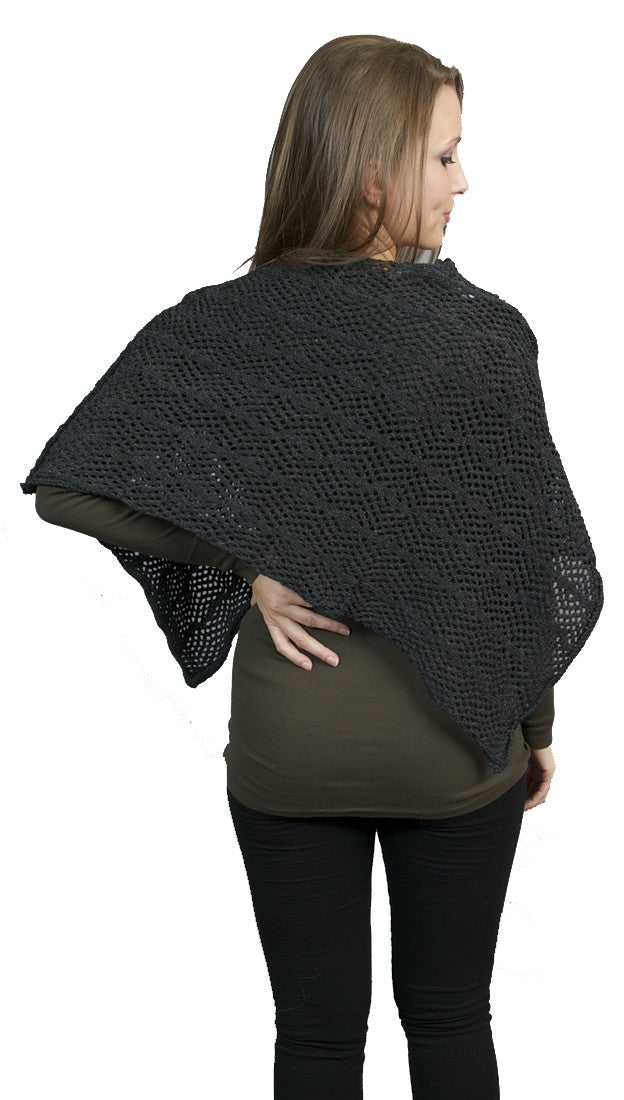 Zendo Sweater Knit Pullover Poncho Charcoal
