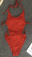 Arianna One Piece Strappy Lace Up Tie Swim Rust Red JessykaRobyn