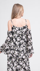JOA Button Front Cold Shoulder Flare Top Black Floral ShopAA
