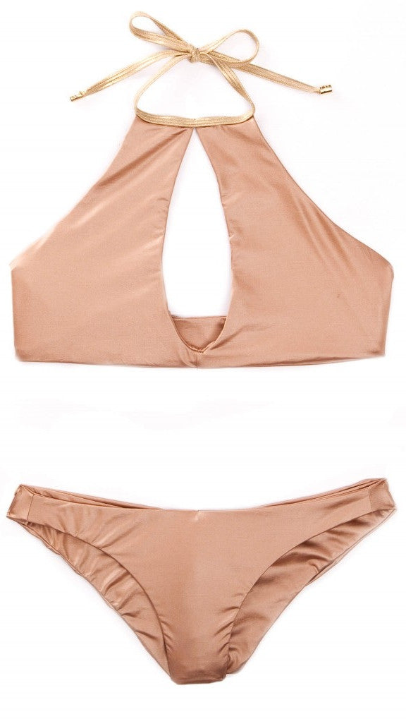 Beach Bunny Swimwear Bunny Basics Keyhole Halter Top Bronze