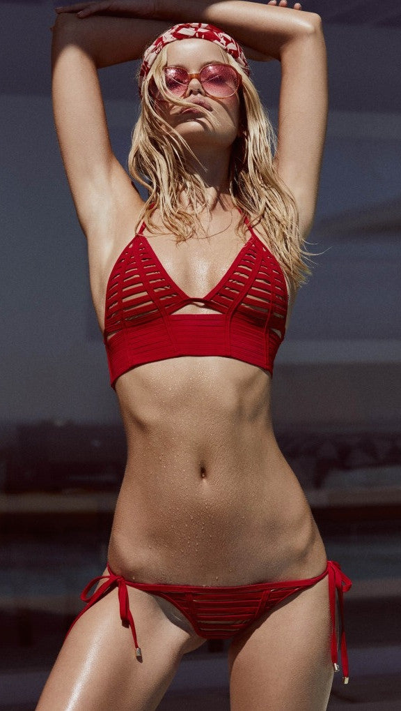 beach bunny swimwear hard summer long line bralette bikini top red