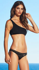 Beach Bunny Tribal Theory Asymmetric One Shoulder Bandeau Chain Top Black