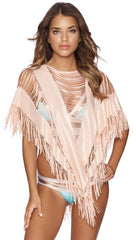 Indian Summer Fringe Poncho in Rose Gold Pink Cover Up