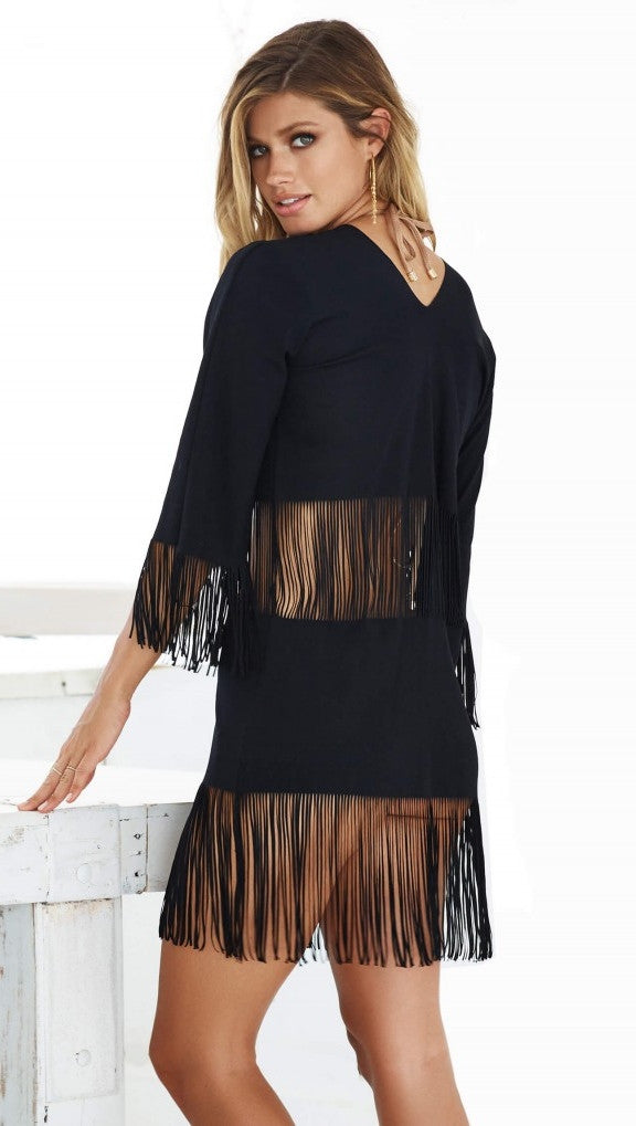 Beach Bunny Indian Summer Fringe Tunic Black Beach Cover Up