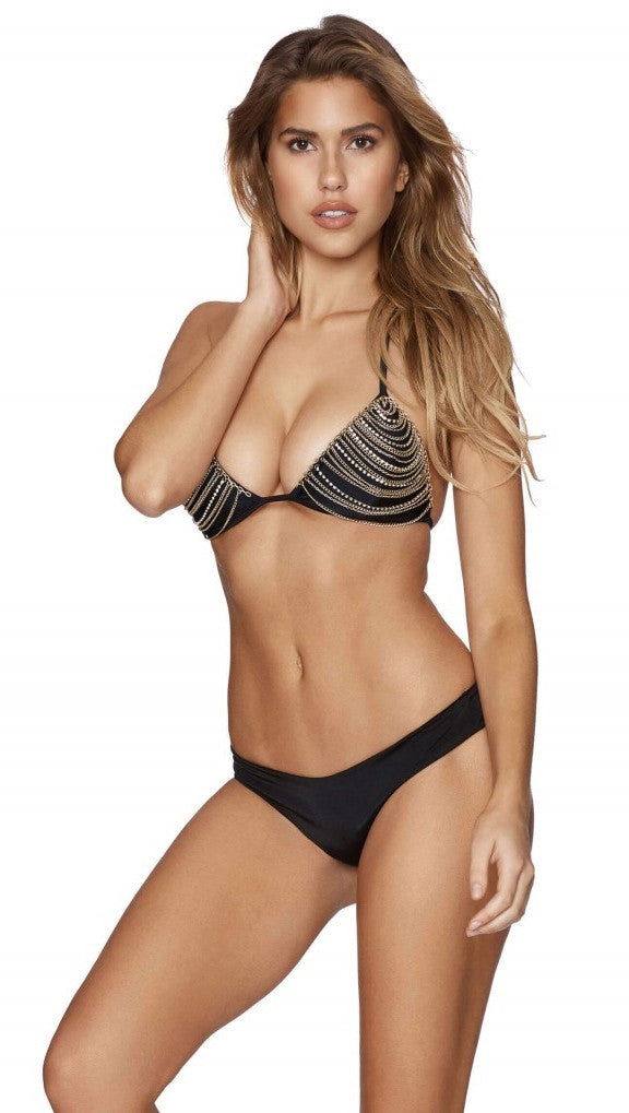Chain Reaction Trianlge Bikini Top Black Beach Bunny Swimwear