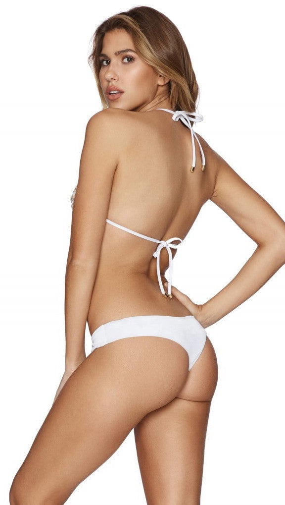 Chain Reaction Trianlge Bikini Top White Beach Bunny Swimwear