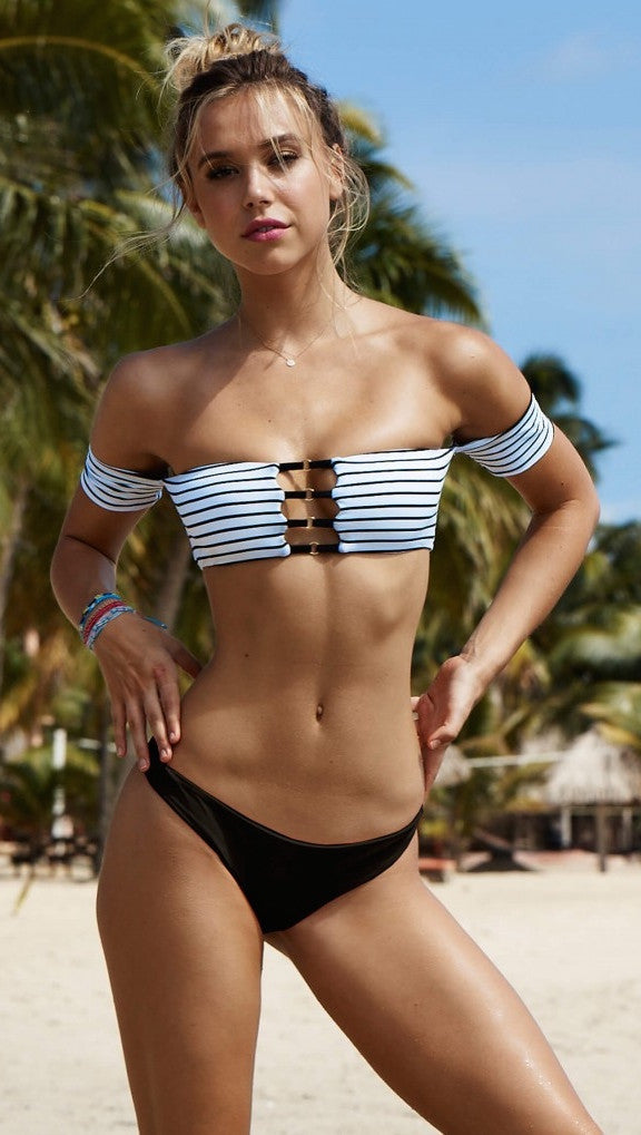 Beach Bunny Swimwear Fine Lines Crop Off Shoulder Bandeau Bikini Top