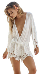 Beach Bunny Swimwear Lover Letter Romper White