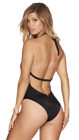 Beach Bunny Swimwear Got Me In Chains One Piece Black Halter