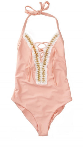 Got Me In Chains One Piece Daiquiri by Beach Bunny Swimwear Pink