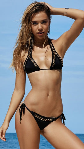 Got Me In Chains Bikini Black Set by Beach Bunny Swimwear
