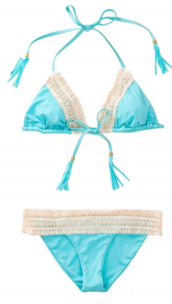 Crochet Lady Lace Triangle Bikini Set Aqua Blue by Beach Bunny Swimwear