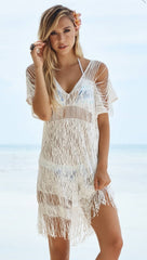 Beach Bunny Swimwear Indian Summer Lace Fringe Dress Cover Up White