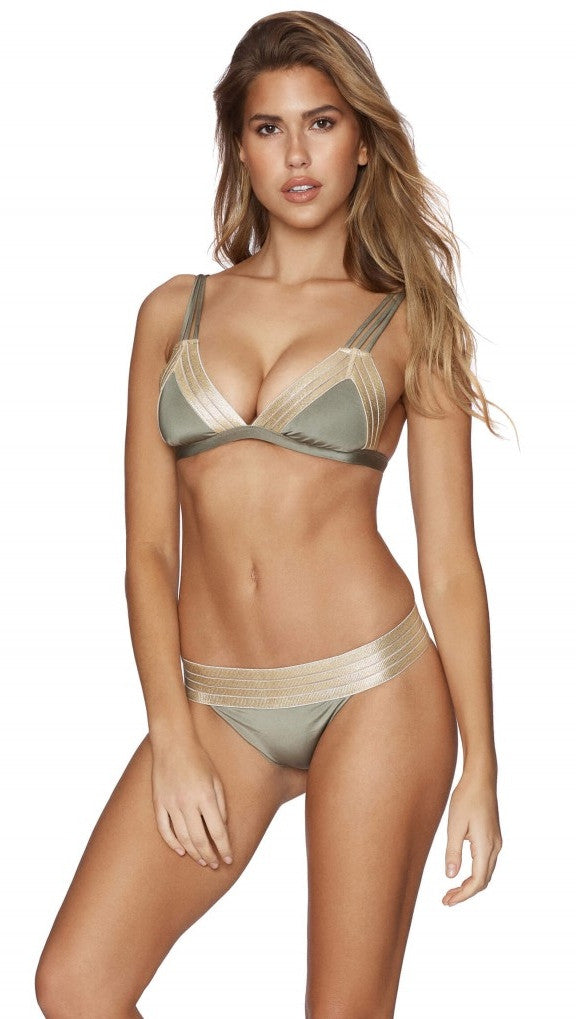 Beach Bunny Swimwear Army Green Sheer Addiction Triangle Top Bikini Gold
