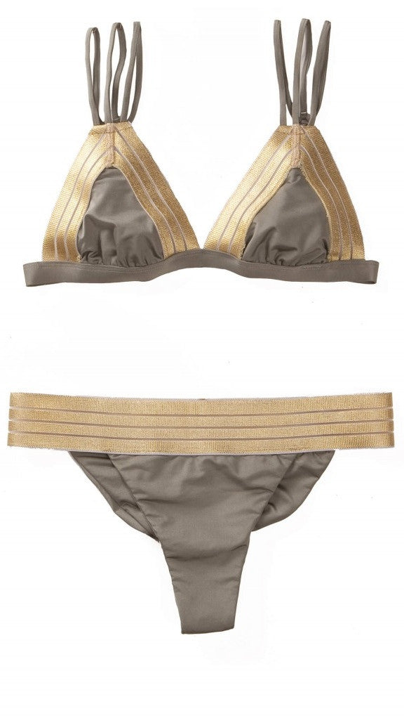 Beach Bunny Sheer Addiction Triangle Top Army Green Gold