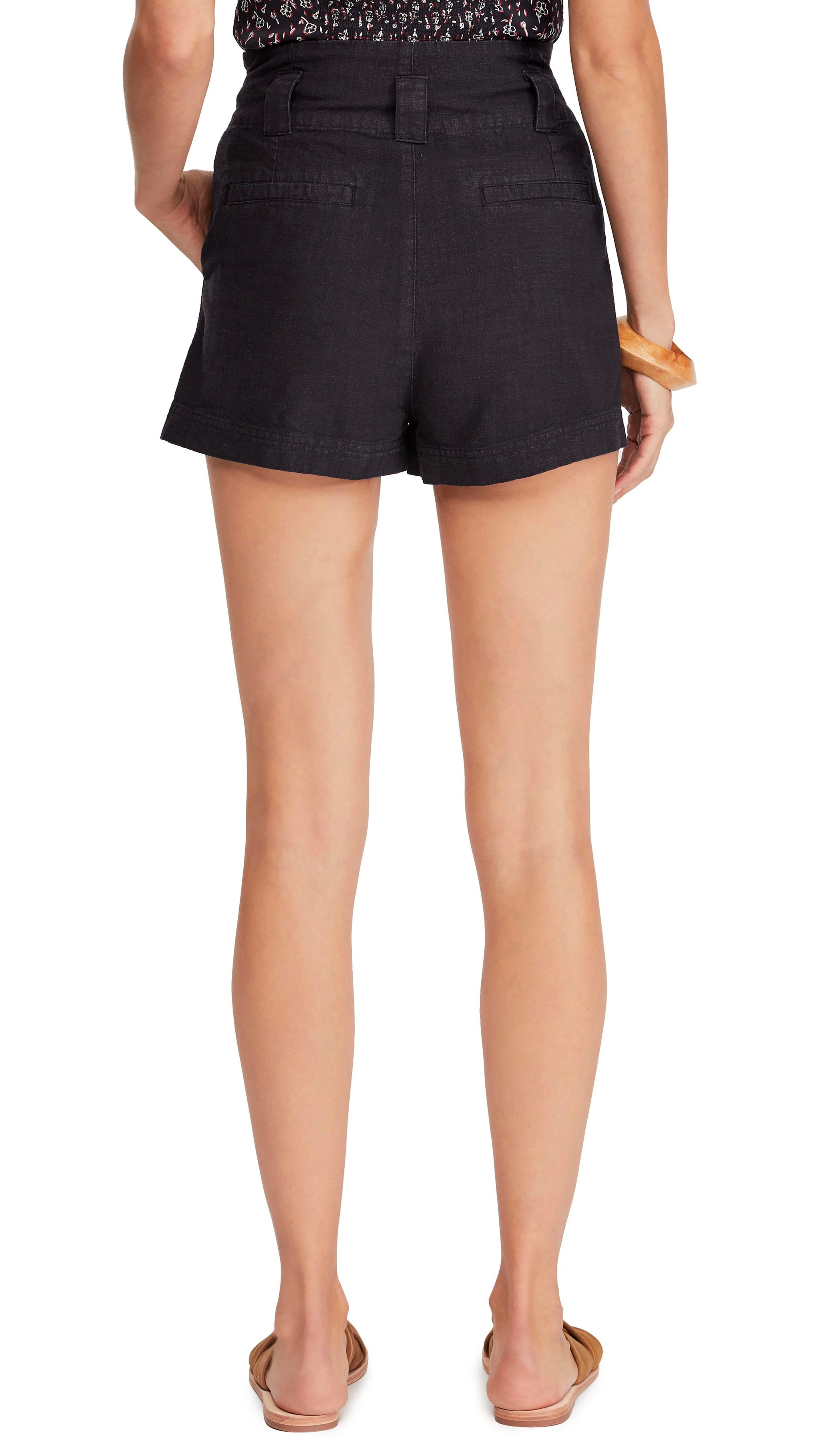 Free People Everywhere You Go Cargo Paperbag Shorts Black I ShopAA