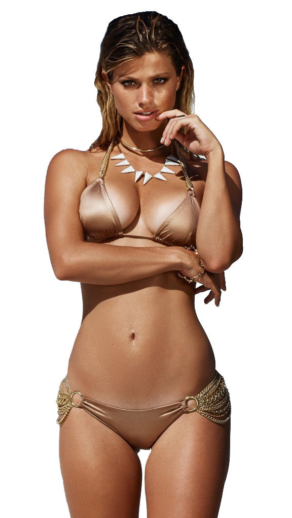 Ball and Chain Triangle Top Bronze Gold by Beach Bunny Swimwear