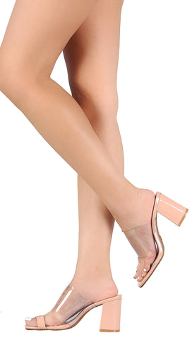 Clear plastic band toe Ring Chunky Heeled Mules Nude Patent I ShopAA