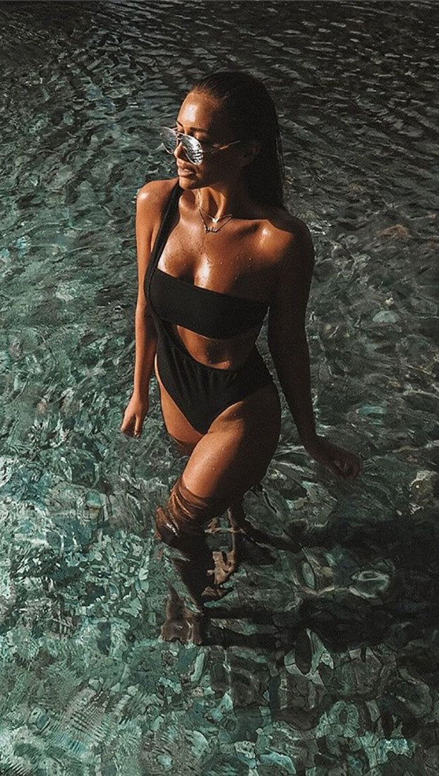 Alandra One Shoulder Asymmetrical Monokini Suspender Swimwear Black