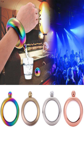 Bangle Bracelet Liquor Jewelry Accessory Portable Round Chic Elegant 3.5 oz Drinkware Flask