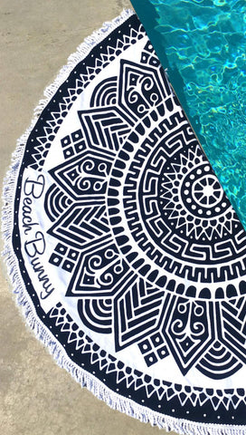 Beach Bunny Swimwear Round Circle Towel Black Tribal Fringe Logo